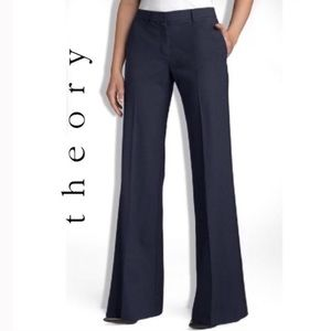Theory Navy 'Emery - Tailor' Wool Blend Trousers